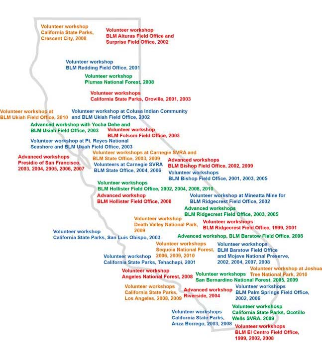 map of workshops in California